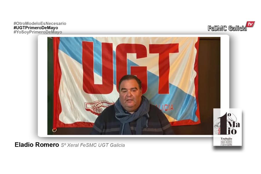 Eladio Romero, Secretario General de FeSMC Galicia, en el 1º de Mayo